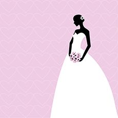 Pink card with bride