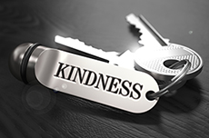 Kindness Concept. Keys with Keyring.